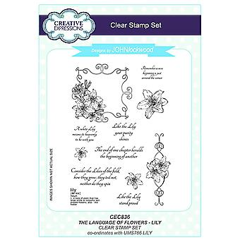 Creative Expressions John Lockwood's Language of Flowers A5 Clear Stamp Set - CEC836 Lily