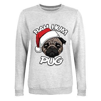Grindstore Donne/Signore Bah Hum Pug Christmas Jumper