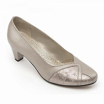 Padders Joanna Ladies Leather Extra Wide (2e) Shoes Stone Pearl