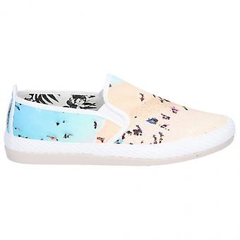 Flossy Pastel Dames Canvas Beach Slip On Plimsolls Ecru