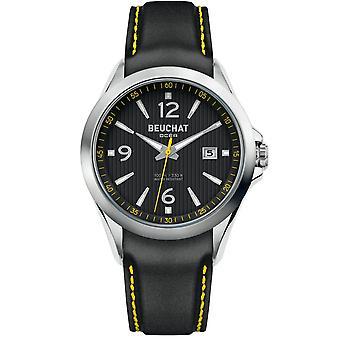 Watch Beuchat BEU0100-90 - dater Bracelet leather black case steel Silver Dial black man