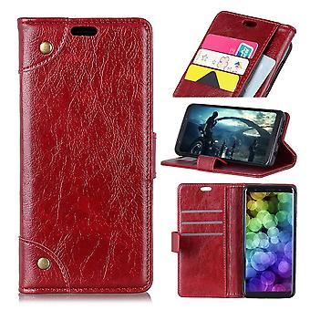 For Samsung Galaxy S10 Case Red Nappa Texture PU Leather Wallet Cover