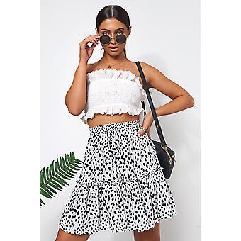 Black Dalmatian Print Skirt