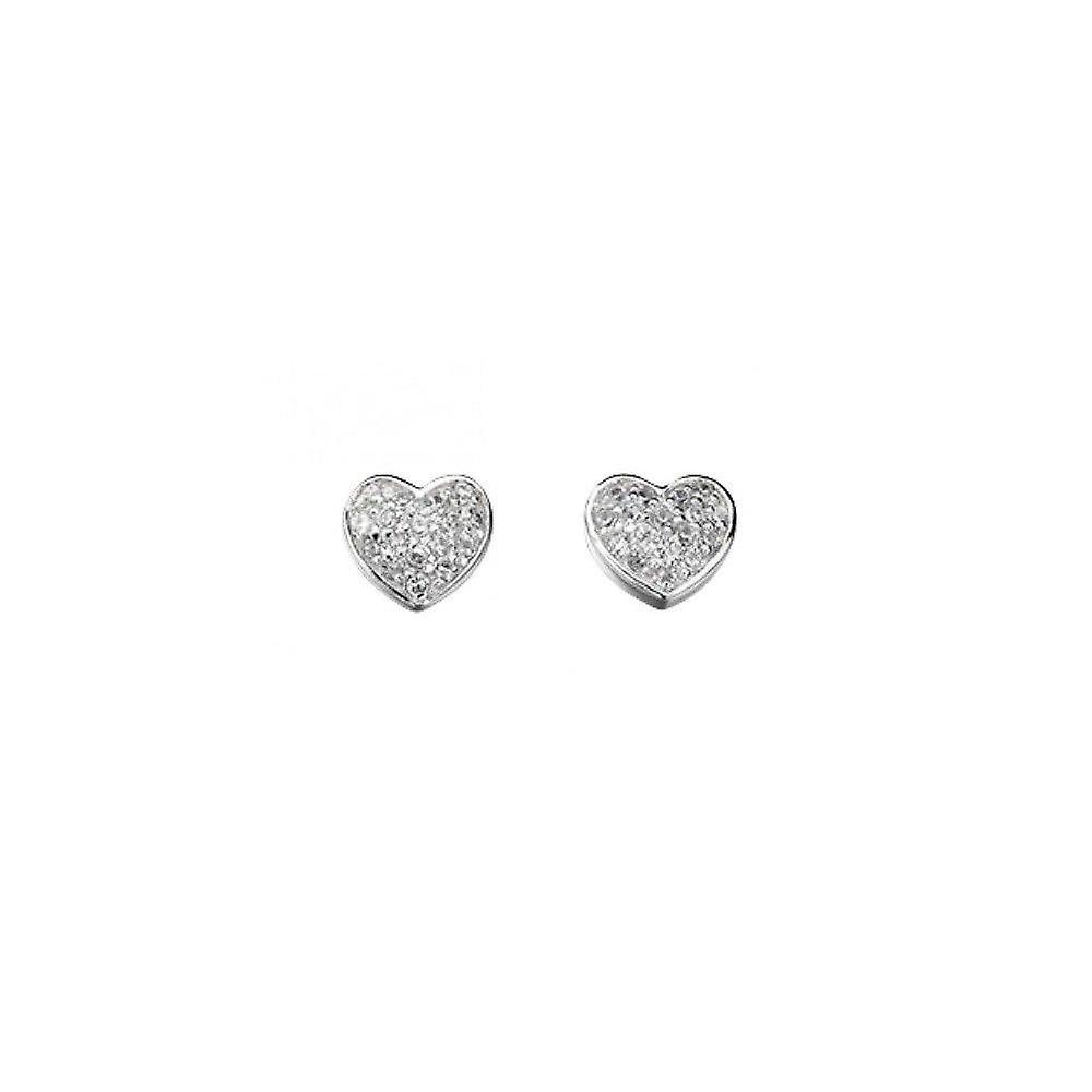 Joshua James Stardust Silver & Cz Pave Heart Stud Earrings