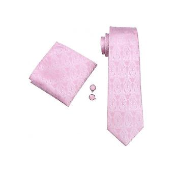 JSS Baby Pink Paisley Silk Wedding Tie, Pocket Square & Cufflink Set