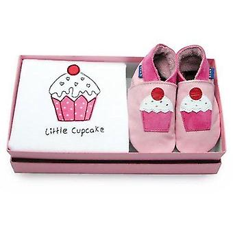 Baby shoes little cupcake gift set - inch blue