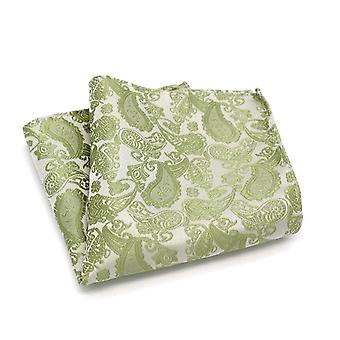 Moss green golden shimmer paisley men's pocket square