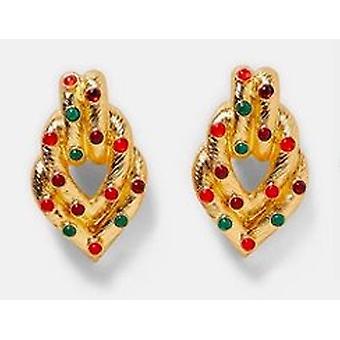 Exotische Oorbellen in goud met rode en groene stenen
