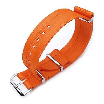 Strapcode n.a.t.o watch strap miltat 22mm g10 military nato watch strap, sandwich nylon armband, polished - orange