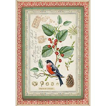 Stamperia Rice Paper A4 Winter Botanic Little Bird on Holly