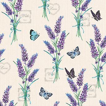 Ambiente 3 Ply Paper Servetter, Lavendel med kärlek Cream