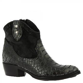 Leonardo Sko Kvinner's håndlagde vestlige støvler svart kalv semsket python skinn