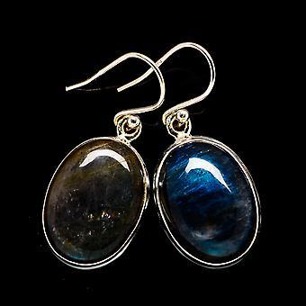 """Kolczyki labradorite 1 3/8"""" (925 Srebro) - Ręcznie boho vintage biżuteria EARR398453"""