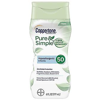 Coppertone pure & simple sunscreen lotion, spf 50, 6 oz