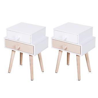 Set Of 2 Kids Bedside Table Bedroom Storage Cabinet w/ Wood Legs 2 Drawers Heart Handles Storage Side Table Toys Books Pyjamas Pink White