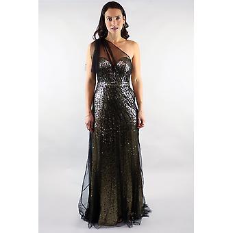 Gloria one shoulder mesh sequin black gown