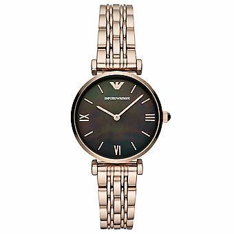 Emporio Armani AR11145 Gianni T-Bar Quartz Black Mother of Pearl Dial Ladies Watch