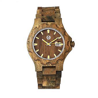 Tierra madera Gila pulsera reloj w/magnifica fecha - oliva