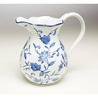 AA Importing 59808 8.5 Inch Blue & White Pitcher