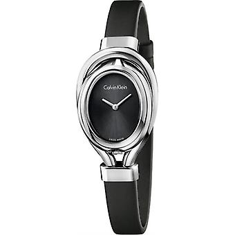 Calvin Klein K5H231b1 Belt Black Dial Black Satin Ladies Watch