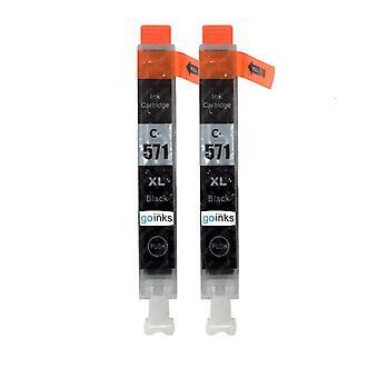 2 mustaa mustekasettia Canon CLI-571Bk -yhteensopivan/ei-OEM-yhteensopivan/ei-OEM-yhteensopivan ja go-musteen tilalle
