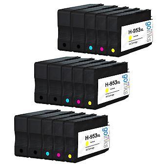 3 Go Inks Kompatybilny zestaw 4 + Extra Black, aby zastąpić HP 953 Wkład atramentowy do drukarek (15 atramentów) - czarny, cyjan, purpurowy, żółty kompatybilny / non-OEM dla drukarek HP Officejet