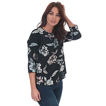 Women's Only Nova Lux Flora 3 Quarter Sleeve Top in Blue