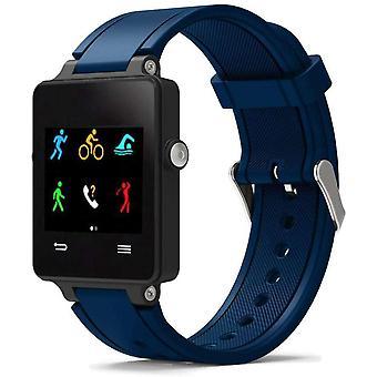 Horlogeband gemaakt door strapsco voor garmin vivoactive donkerblauwe siliconen horlogeband sportstijl
