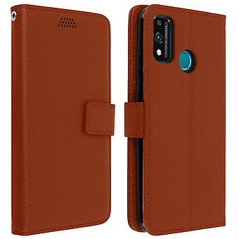 Honor 9X Lite Folio Case with video support - Brown