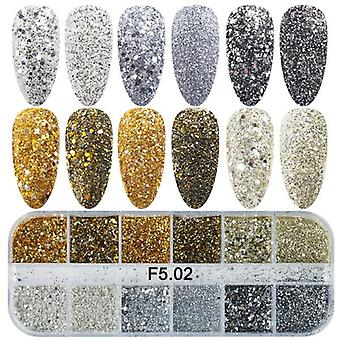 Mix Glitter Nail Art Powder Flakes Set - Paillettes olografiche per Manicure