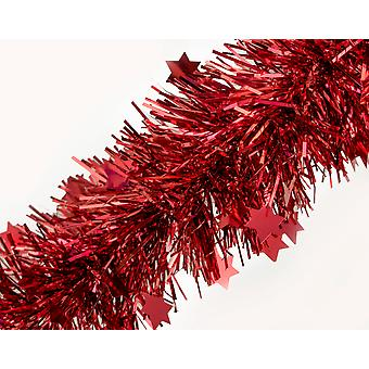 2m Red Star Christmas Tinsel Garland