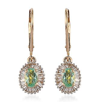 ILIANA AAA Paraiba Tourmaline 18ct Yellow Gold DropDangle Earrings White Diamond
