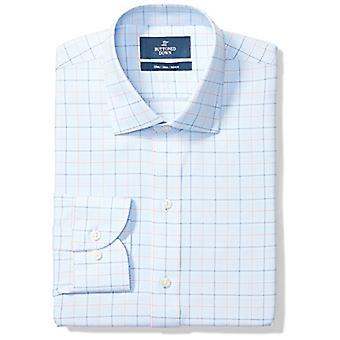 BUTTONED DOWN Männer's Schlanke Passform Spread-Collar Muster Nicht-Eisen Kleid Shirt, blau...