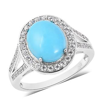Sleeping Beauty Turquoise Halo Ring Sterling Silver White Zircon, 3.8 Ct TJC