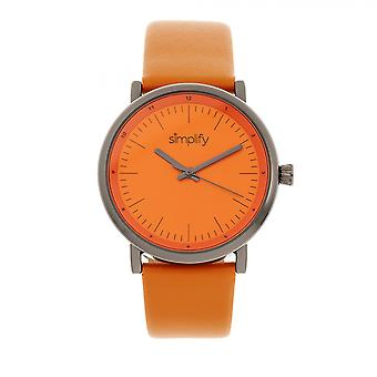 Simplify The 6200 Leather-Strap Watch - Orange