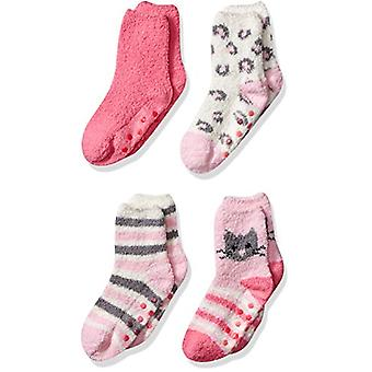 Essentials Girl's 4-Pack Slipper Socks, Pink Cat, Medium/Large (8-14)