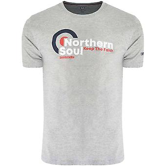 Lambretta Mens Northern Soul Grafisk Bomull Crew Neck T-Shirt Topp Tee - Greymarl