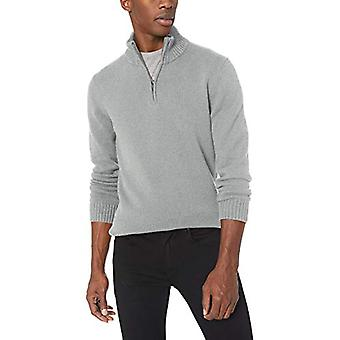Goodthreads Men's Soft Cotton Quarter Zip Sweater, Heather Grey, Medium