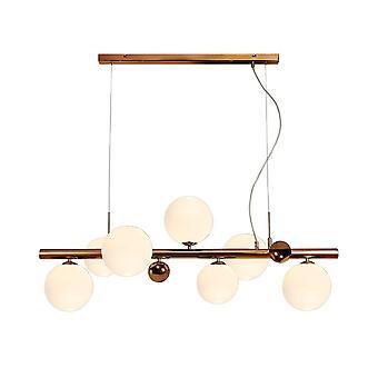 Éclairage Luminosa - Pendentif plafond, 7 x G9, Cuivre antique, Opal & Verre de cuivre