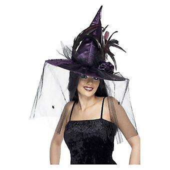 Καπέλο μαγισσών, πορφυρό, με τα φτερά & το δίχτυ, deluxe