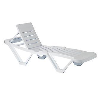 Resol 4 Piece Master Plastic Garden Sun Lounger Bed Set - Adjustable Reclining Outdoor Furniture - White