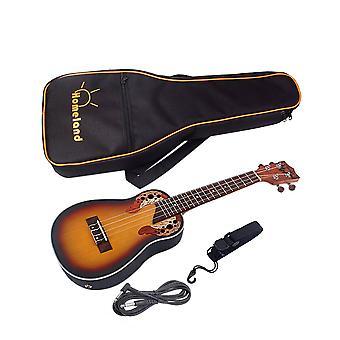 23inch Spruce Ukulele Kit Guitar 4 String Guitar with Built-in EQ Bracket