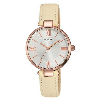 Pulsar Ladies Cream Leather Strap Rolse Gold Case 50M Watch (Model No. PH8246X1)