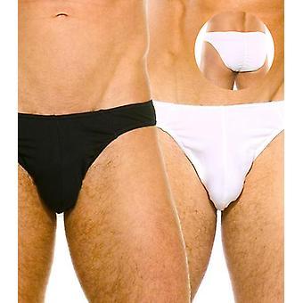 Contour brief twin pack black & white stretch cotton