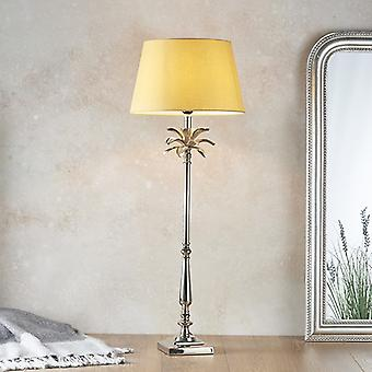 Tafellamp gepolijste nikkelplaat en geel katoen 1 Licht IP20 - E27
