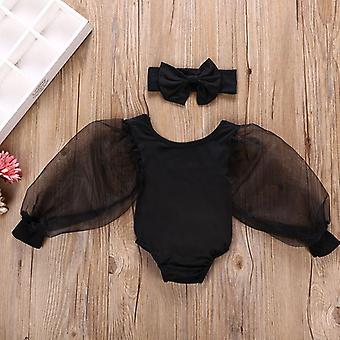 Kids Bodysuits Lace Puff Long Sleeve Solid Jumpsuits Spring Princess Tops