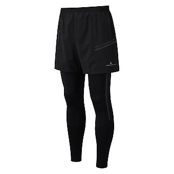 Ronhill Tech Twin Mens Breathable & Sweat Wicking Running Tights All Black