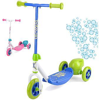 Xootz Kids Bubble Scooter, 3 Wheel Kick Scooter met Bubble Blower Blauw / Groen