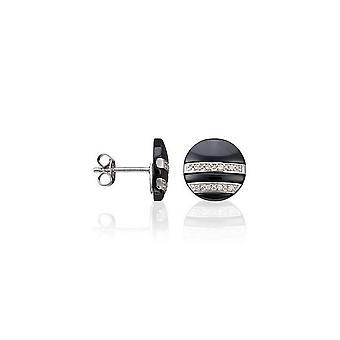 Boucles d'oreilles en céramique noire, argent et oxyde de zirconium 'MES PUCES '