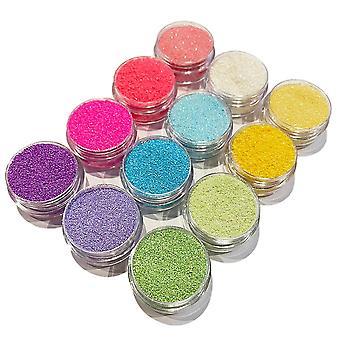 12 latas de purpurina de grano fino - Pastel - Neon